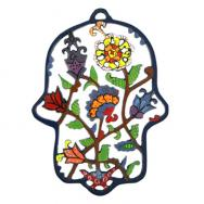 Laser Cut Hand Painted Hamsa - Flowers HCL-3