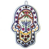 Small Embroidered Hamsa - Menorah HES-4
