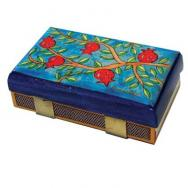 Kitchen Size Painted Wooden Match Box - Pomegranates and branchs MBM-4