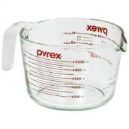 Pyrex Prepware 1-Quart Measuring Cup, Clear with Red Measurements