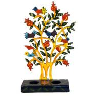 Painted Metal Lazer Cut shabbat Candlesticks - Birds Tree CLC-A1