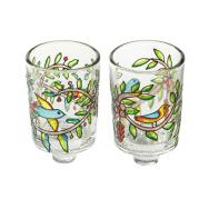 Painted Glass Candle Holder - Pair - Birds and Flowers GCS-2