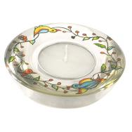 Glass Candle Holder - Birds and Flowers GL-6