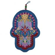 Large Embroidered Hamsa and Crystales - Oriental Blue HCL-2