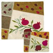Raw Silk Matzah Cover Set - Pomegranates White MAS-AFR-3
