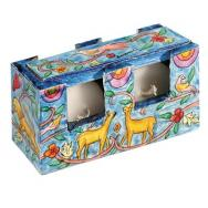 Travel Shabbat CandleStick Case - gazelle and Birds TCS-3