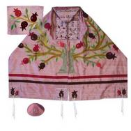 Embroidered Raw Silk Tallit - Tree of life - Pomegranates pink TFA-12