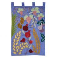 Extra Large Wall Hanging - The Seven Species in Blue WXL-4