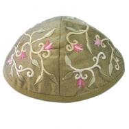 Embroidered Kippah - Flowers Gold YME-3G