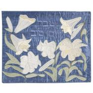 Raw Silk Appliqued Challa Cover - Lily in blue CAS-40