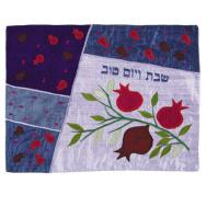 Raw Silk Appliqued Challa Cover - Pomegranates blue CAS-5