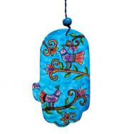 Small Wood Painted Hamsa - Birds Blue HAS-13