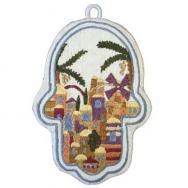 Small Embroidered Hamsa - Jerusalem HES-1