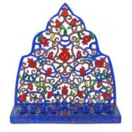 Painted Metal Lazer Cut Menorah - Moroccan Pomegranate Tree HML-2