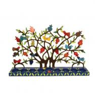 Painted Metal Lazer Cut Menorah - Birds in Pomegranate Tree HMX-1
