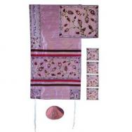 Embroidered Raw Silk Tallit - The Matriarchs embroidered pink TFA-10