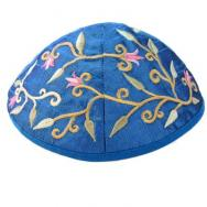 Embroidered Kippah - Flowers Blue YME-3B