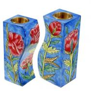 Fitted Shabbat Candlesticks - Roses CS-10