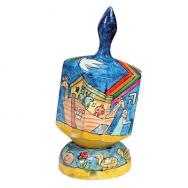 Large Wooden Dreidel with Stand - Noahs Ark DRL-2B