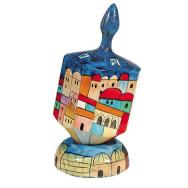 Large Wooden Dreidel with Stand - Jerusalem Color DRL-3B