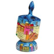 Large Wooden Dreidel with Stand - Jerusalem DRL-9B