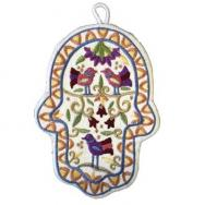 Large Embroidered Hamsa - Birds HEL-2
