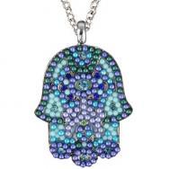 Large Hamsa Necklace - Blue NHL-2