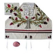 Embroidered Raw Silk Tallit - Tree of life - Pomegranates white TFA-11