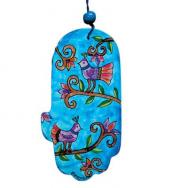 Large Wood Painted Hamsa -Birds Blue HAL-13