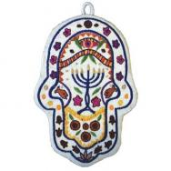 Large Embroidered Hamsa - Menorah HEL-4