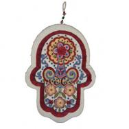 Large Embroidered Hamsa and Crystales - Oriental white HLC-1