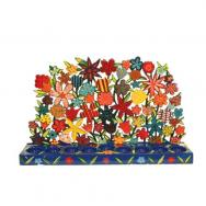 Painted Metal Lazer Cut Menorah - Multi Flowers HMX-2