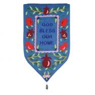 Large Shield Tapestry - God Bless English - Blue WSB-13T