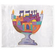 Silk Painted Challa Cover - Menorah color CSY-4