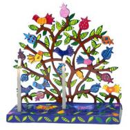 Painted Metal Laer Cut Menorah - Birds in Pomegranate Tree HML-1