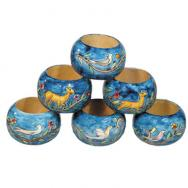 Six Wooden Napkin Rings - Oriental RN-3