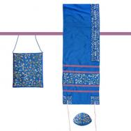 Embroidered Raw Silk Women Tallit – Tallisack - Flowers Blue TAB-1B