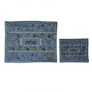 Embroidered Tallit and Tefillin Bag – Pomegranates in Blue TBC-TFC-2B