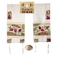 Embroidered Raw Silk Tallit - Pomegranates in gold TFA-4