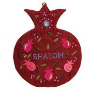 Embroidered Wall Decoration - Pomegranates Shalom Red English WSC-4