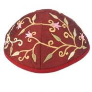 Embroidered Kippah - Flowers Magenta YME-3M