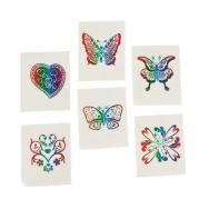 72 Rainbow Glitter Temporary Tattoos / Party Favors