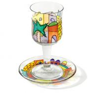 Glass Kiddush Cup and Saucer - Jerusalem Gate GC-6