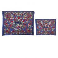 Embroidered Tallit and Tefillin Bag – Flowers in Blue TBC-TFC-6B