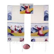 Embroidered Raw Silk Tallit - Miriam and the drum TFA-1