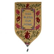 Large Shield Tapestry - God Bless English - Gold WSB-13G