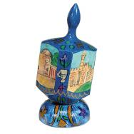 Large Wooden Dreidel with Stand - Jerusalem Blue DRL-1B