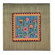 Embroidered Picture and Fabric Frame - Flowers Gold PFM-5