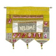 Wall Hanging - Welcome Flowers English Gold WE-6