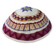 Embroidered Kippah - Geometrical white YME-2W